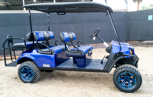 Bron's Beach Carts blue 6-passenger golf cart